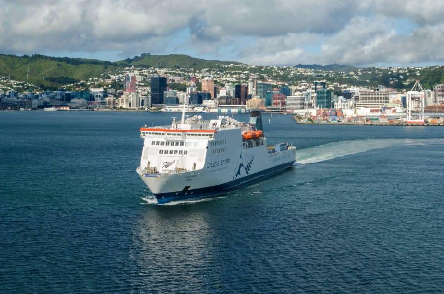 An Interislander ferry leaving New Zealand capital Wellington