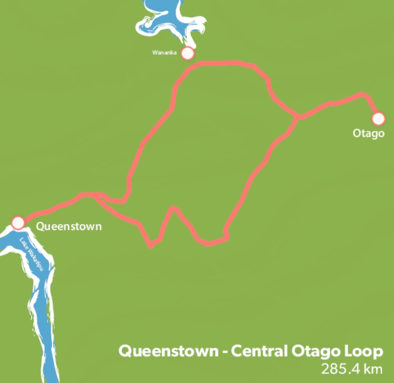 Queenstown campervan trip map
